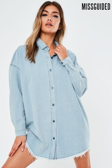 Missguide Oversized Denim Shirt Dress