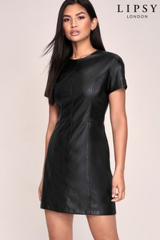 Lipsy Faux Leather Skater Dress