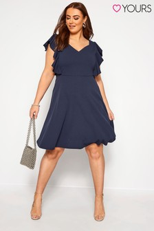 Yours Curve Frill Shoulder Skater Dress