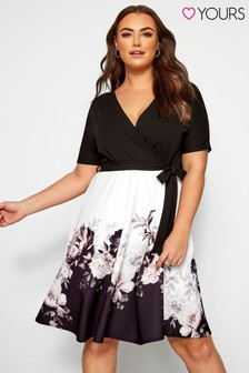 Yours Curve Two In One Floral Wrap Dress Black
