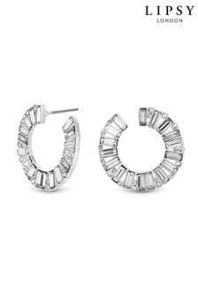 Lipsy銀灰色鍍面水晶長條穿耳圓圈耳環