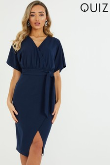 Quiz Batwing Sleeve Wrap Midi Dress