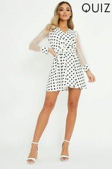 Quiz Polka Dot Skater Puff Sleeve Dress