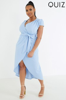 Quiz Curve Cap Sleeve Wrap Midi Dress