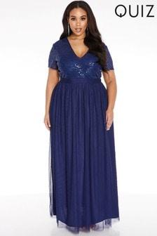 Quiz Curve Sequin Embellished Maxi Dress