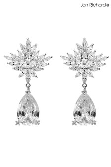 Jon Richard Silver Plated Floral Pear Drop Crystal Earring