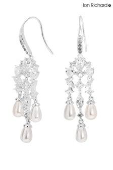 Pendientes chapados en plata con diseño largo estilo cascada con perlas y circonita de Jon Richard