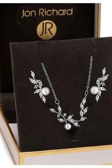 طقم مجوهرات كريستال ولؤلؤ في صندوق هدايا منJon Richard