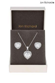 Jon Richard Pave Heart Matching Set In A Gift Box