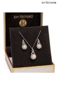 Jon Richard Silver Plated Pearl Twist Halo Matching Set In A Gift Box