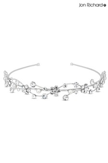 Jon Richard Silver Crystal Flower & Pearl Wave Headband