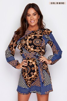 Girl In Mind Mixed Print Long Sleeve Dress