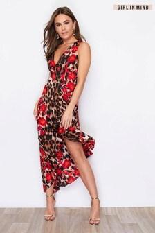 Girl In Mind V neck Asymmetric Frill Dress