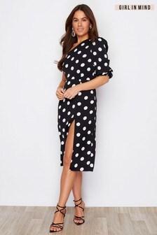 Girl In Mind One Shoulder Split Leg Polka Dot Dress
