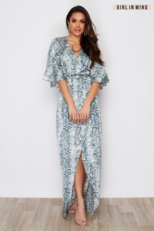 Girl In Mind Snake Print Maxi Dress