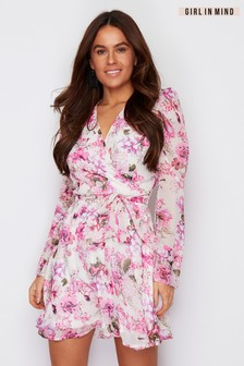 Girl In Mind Puff Sleeve Floral Wrap Dress
