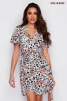 Girl In Mind Mixed Leopard Print Wrap Dress