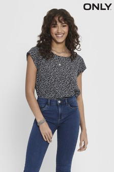 Only Cap Sleeve Ditsy Print Top