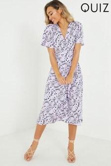 Quiz Ditsy Floral Frill Midi Dress