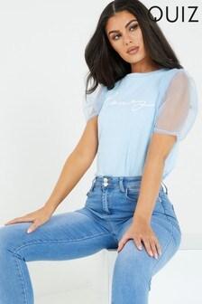 Quiz Motif Puffed Sleeves T-Shirt