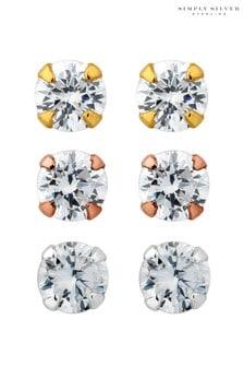 SimplySilverSterlingSilver925 Tri-Tone Cubic Zirconia Stud Earring - Pack Of 3