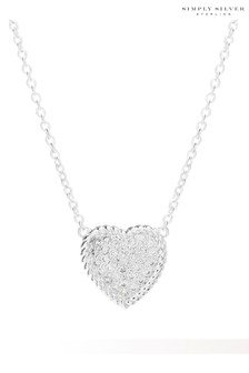 Simply Silver Sterling Silver 925 Cubic Zirconia Pave Rope Edge Heart Pendant