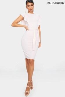 PrettyLittleThing Frill Sleeve Detail Midi Dress