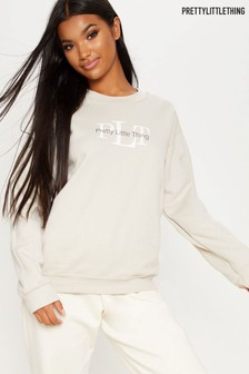 PrettyLittleThing Sand Logo Sweater
