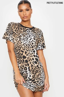 PrettyLittleThing Leopard Print T-Shirt Dress