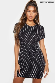 PrettyLittleThing Polka Dot Tie Waist T-Shirt Dress