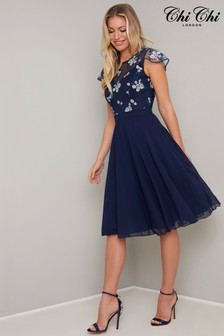 Chi Chi London Embroidered Skater Dress
