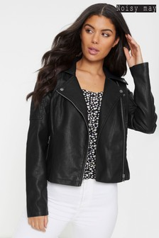 Noisy May Faux Leather Biker Jacket