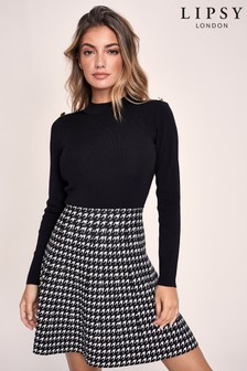 Lipsy 2-In-1 Knitted Dogtooth Dress
