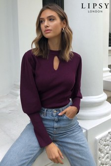 Lipsy Knitted Keyhole Leg Of Mutton Top