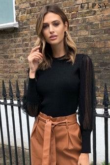 Lipsy Pullover mit Mesh-Ärmeln