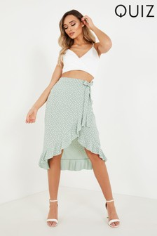Quiz Polka Dot Frill Wrap Skirt