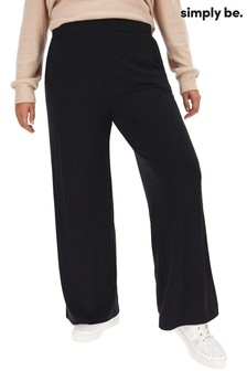 Simply Be Wide Leg Stretch Jersey Trousers