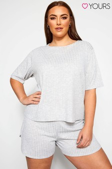 Yours Curve Limited Collection Grey Marl Short & T-Shirt Lounge Set