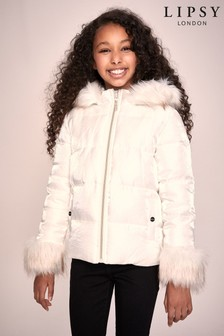 Lipsy Shimmer Fur Cuff Padded Coat