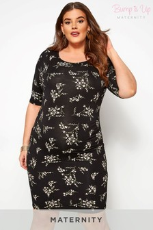 Bump It Up Maternity Floral Midi Tube Dress