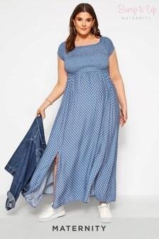 Bump It Up Curve Maternity Spot Print Maxi Dress
