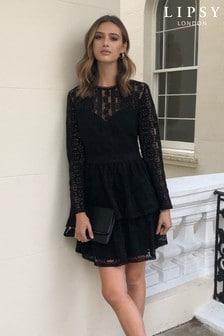Lipsy 蕾絲多層次寬襬連身裙