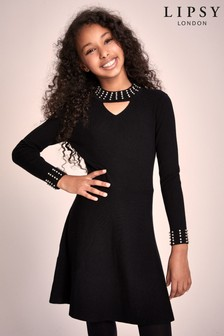 Lipsy Girl Choker Embellished Knitted Dress
