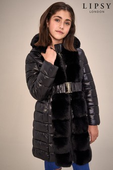 Lipsy Girl Faux Fur Front Belted Padded Coat
