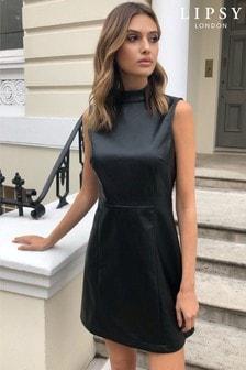 Lipsy Faux Leather Sleeveless Dress
