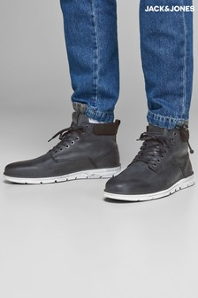 JACK & JONES Casual Leather Lace Up Boots