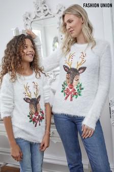 Fashion Union Eyelash Knit Sequin Reindeer Christmas Jumper