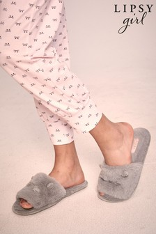 Lipsy Open Toe Faux Fur Mule Slipper (Older)