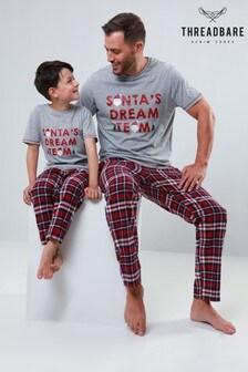 Threadbare Christmas Tee Woven Check Pyjama Set