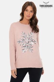 Threadbare Weihnachtlicher Pullover mit Pailletten und Schneeflocken
